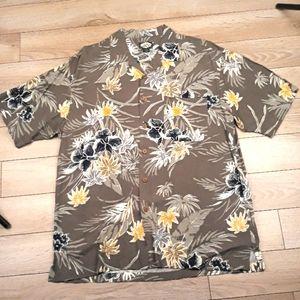 TOMMY BAHAMA Grey Gold Floral Rayon Medium Shirt